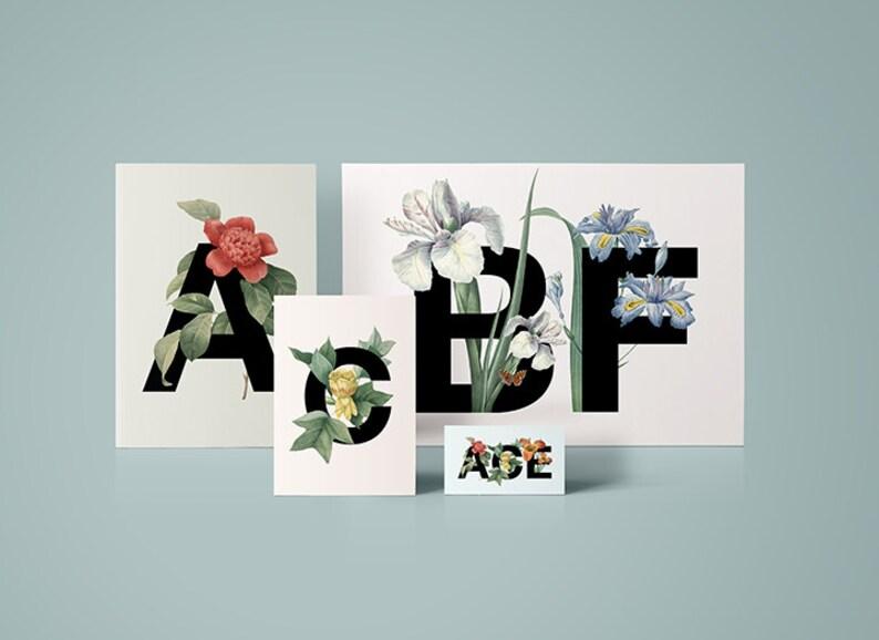 Digital print design Customisable lettering design Card with custom lettering Custom greeting card Stationery Home Decor Floral
