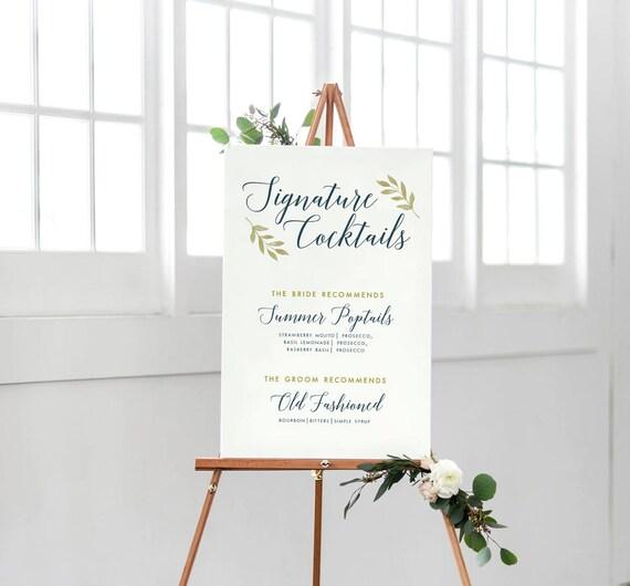 Signature imprimable Cocktails signe, signe de mariage Bar, mariage bleu marine signe, signe de la calligraphie de mariage bleu marine, Signature boissons signe
