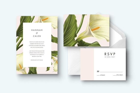 Calla Lily Printable Wedding Invitation Kit Design Custom