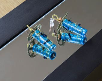 Wire Wrapped Earrings Blue Resistors Geek Steampunk Jewellery Spur Gear French Hooks Tesla Edison FREE UK DELIVERY!