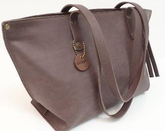 Leather bag women's bag brown, handle bag leather bag carrying bag shoulder bag handbag Leather Bag Brown, Handmade Monti leather design