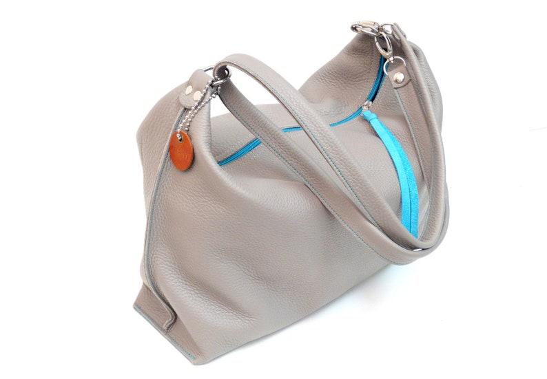 c619ee856392d Ledertasche Damen Schultertasche Handtasche Damentasche Grau