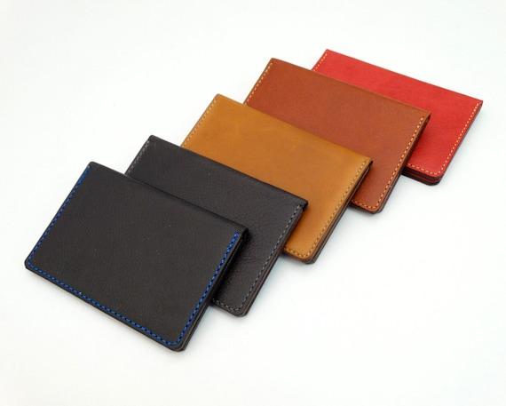 Wallet Leather Mini Wallet Wallet Mini Wallet Credit Card Case Business Card Case Brown Red Black Cognac Camel