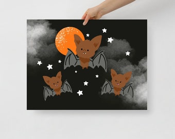 Bats in the Moonlight Halloween Poster-choose your size-art print