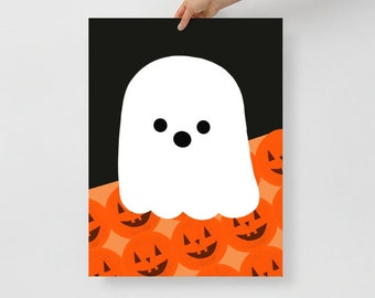 Ghost and Pumpkins Halloween Poster-choose your size- art print