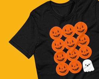 Ghost and Jack o Lanterns Short-Sleeve Unisex Halloween T-Shirt