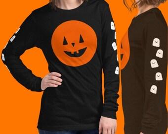 Jack O Lantern and Ghosts on sleeves Unisex Long Sleeve Halloween Tee-Printed on both sleeves
