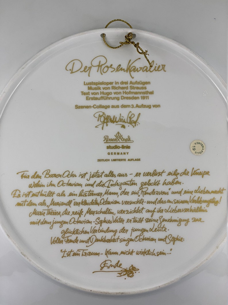 Porcelain Exclusive Limited Edition Collectible Wall Plate Rosenthal Der Rosenkavalier Scene Collage Opera