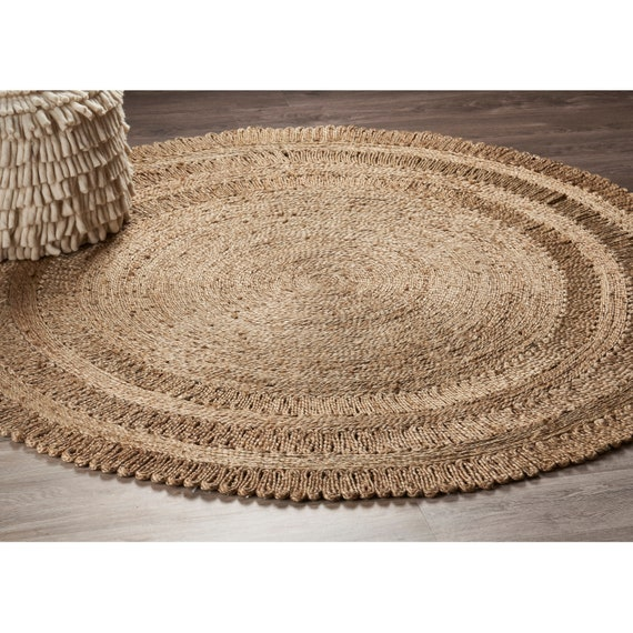 Jute Round Rug 150cm Natural Handmade Hemp Carpet Etsy