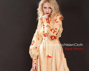 Linen Embroidered Dress Vyshyvanka Ukrainian Dress Mexican golden embroidery oversize Kaftan Abaya Caftan Free Shipping
