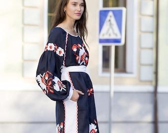 Mexican Embroidered Dress Gipsy Dress Linen Kaftan Abaya Vyshyvanka Ukrainian Dress Midi Dress Tunic Free Shipping