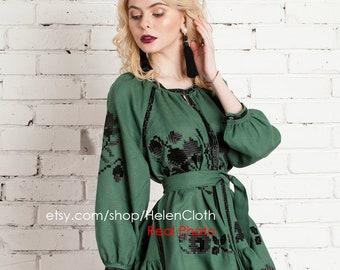 Green Women Embroidered Short Mini Dress Vyshyvanka Poppie Ukrainian Clothes Embroidery Boho Caftan Mexican Style Linen Tunic Bohemian Ethno