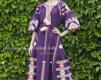 Women linen embroidered dress vyshyvanka. Ukrainian vyshyvanka dress, mexico dress, Kaftan, Abaya, Caftan. Free Shipping Boho style