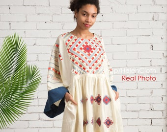 1d182034d Women linen oversize embroidered dress in bohemian style Loose linen size  plus maxi dress vyshyvanka Ukrainian dress Mexico, Kaftan IN STOCK