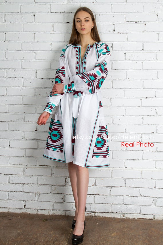 877ee9c6290 White Linen Ukrainian Vyshyvanka Embroidered Dress Mexican