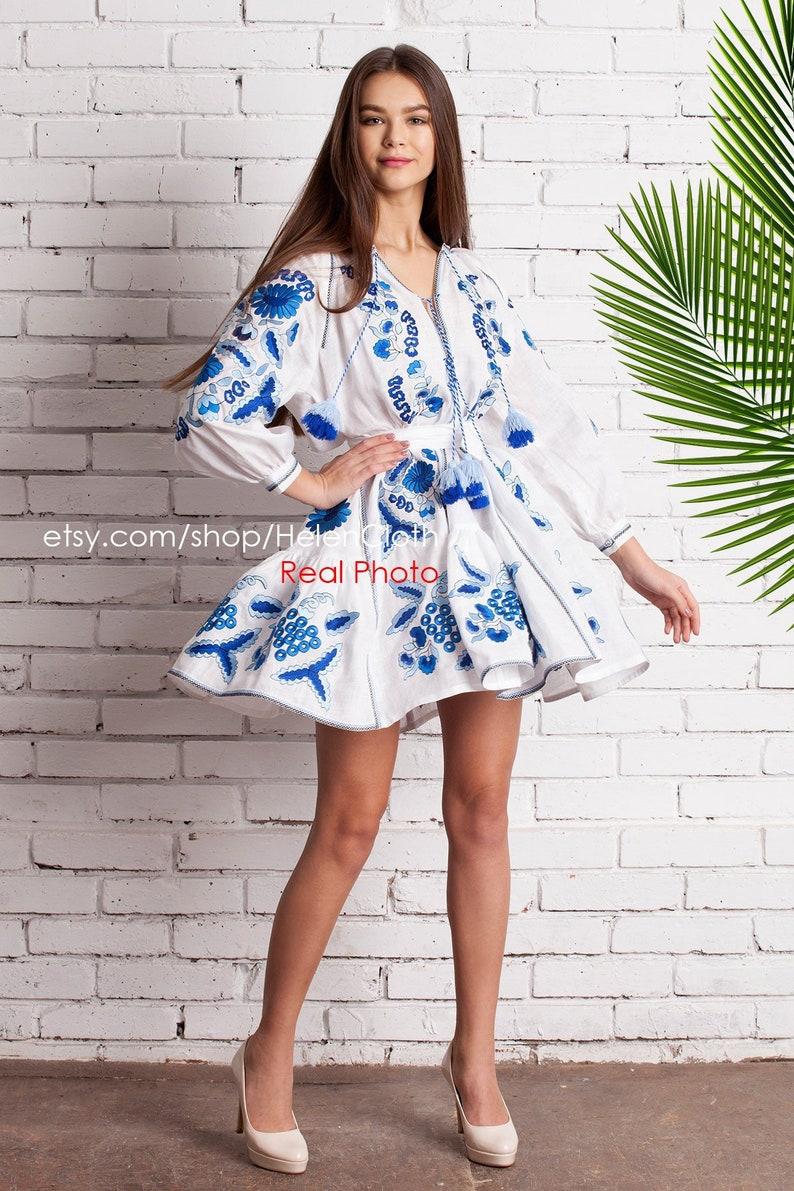 0fb9fcea02 White Linen Short Dress with Embroidered Grape. Vyshyvanka