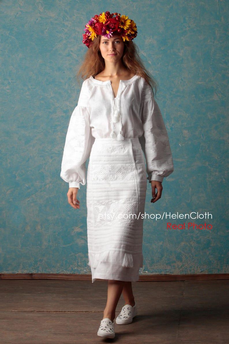 8cb67f883ef White Linen Skirt and Blouse Wedding set Ukraine mid calf