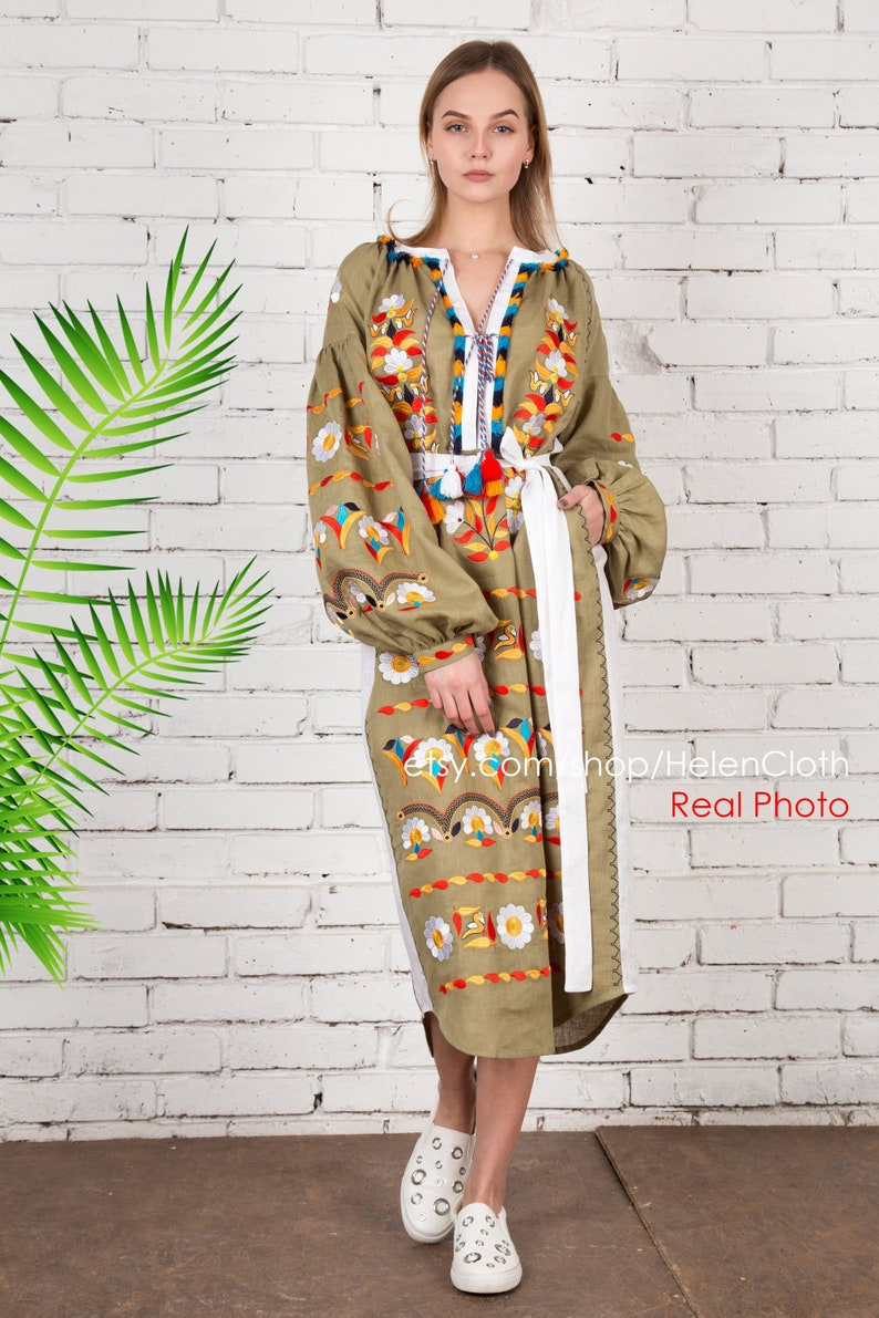 d8b1bcba72b9 New Women floral boho dress embroidery Bohemian linen dress | Etsy