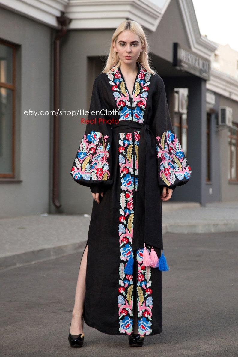 154b6a3b5a40 Black maxi embroidered linen kaftan in bohemian style Linen