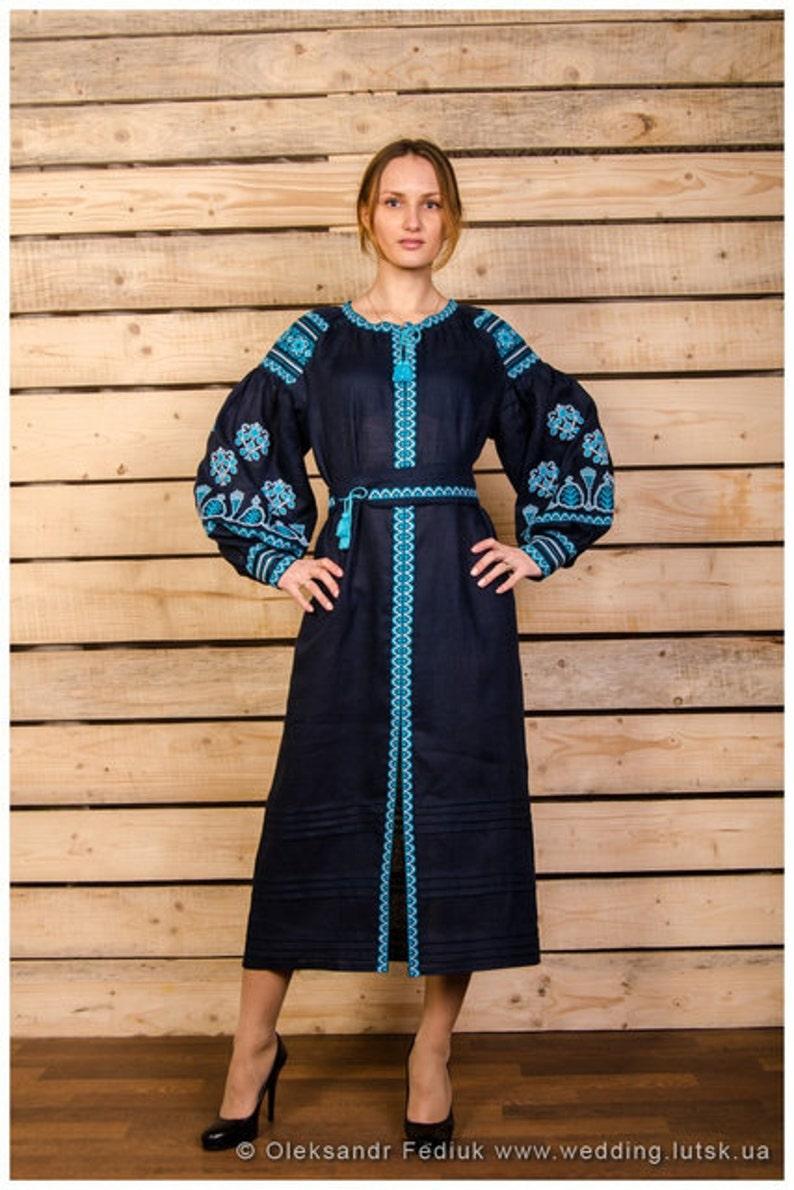 61bdd6c613a2 Boho embroidered black linen dress. Organic fabric. Ethnic
