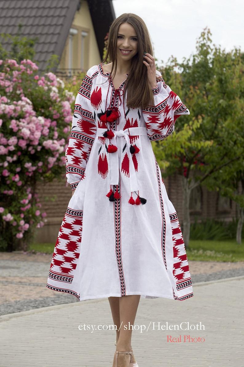 a465d02700 Women white linen embroidered dress vyshyvanka Ukrainian