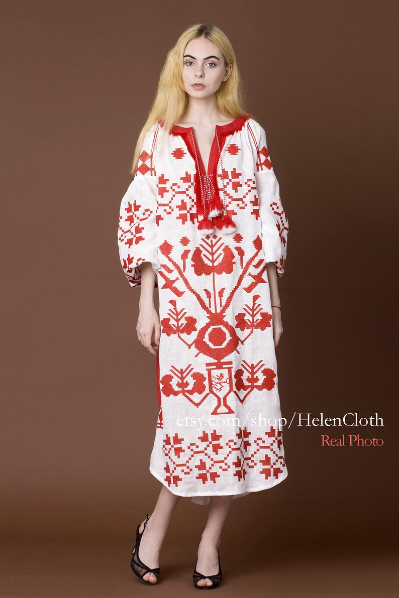 af61e437e8 White Linen Embroidered Dress Vyshyvanka Ukrainian Dress