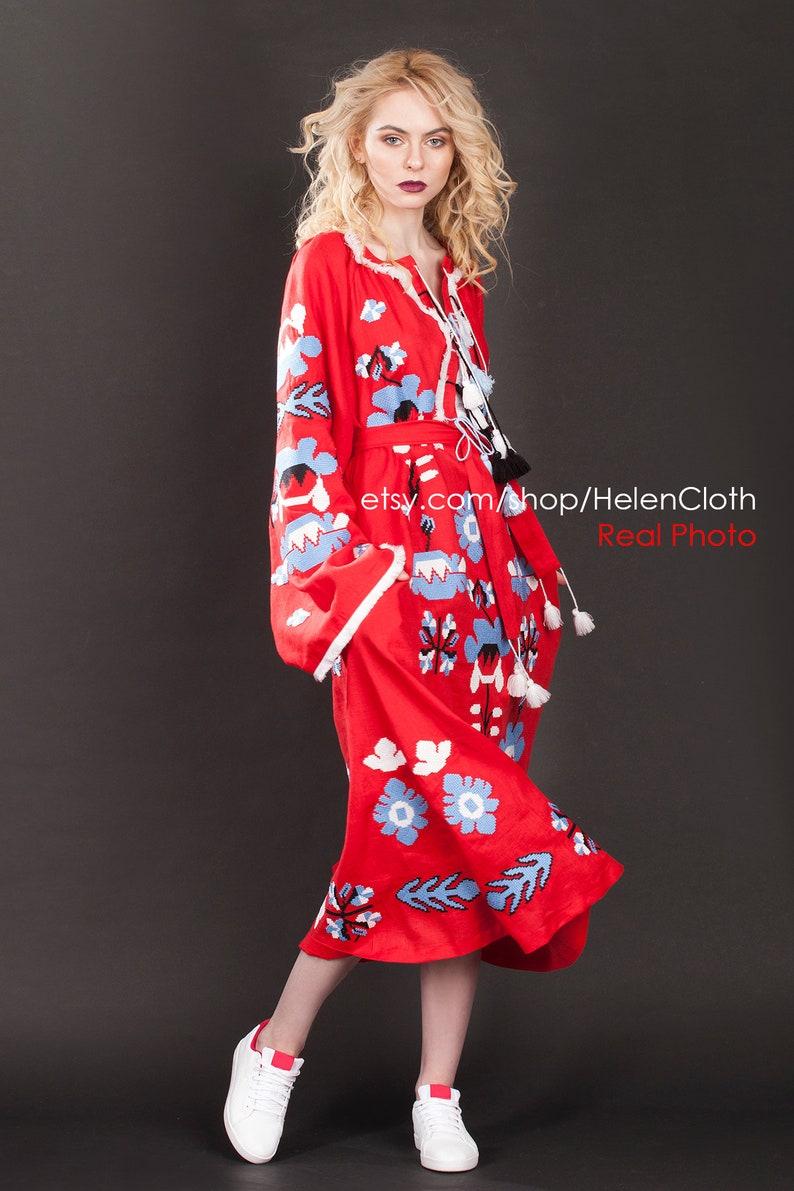 63a1bbdd2f4 Red Linen Maxi Embroidered Dress Vyshyvanka Ukrainian Dress