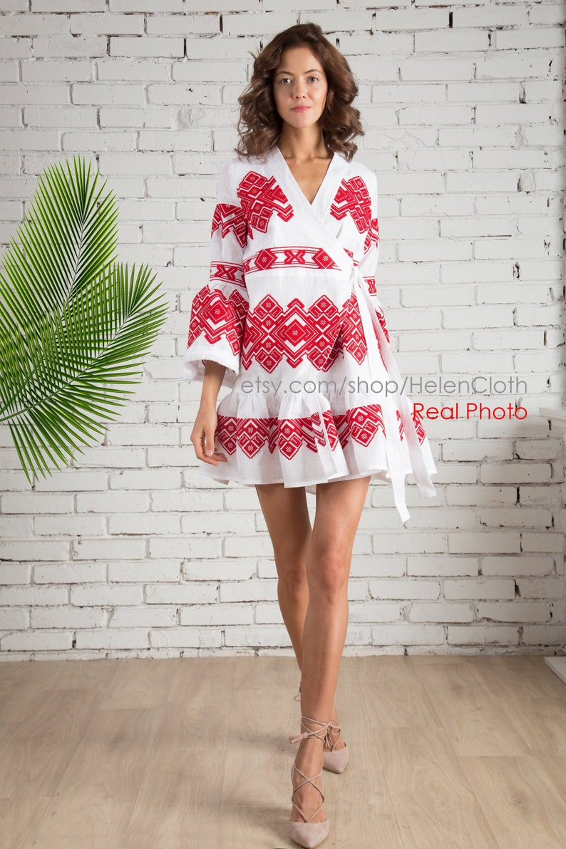 cd026366d5 Women white with red linen embroidered wrap dress Cross stitch