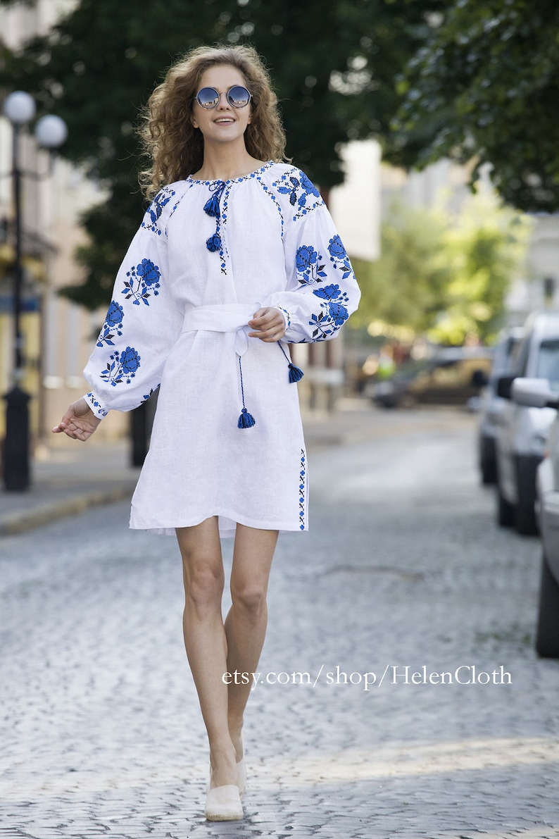 c4a12c12c6 In Stock White Linen Tunic embroidered Vyshyvanka Short dress