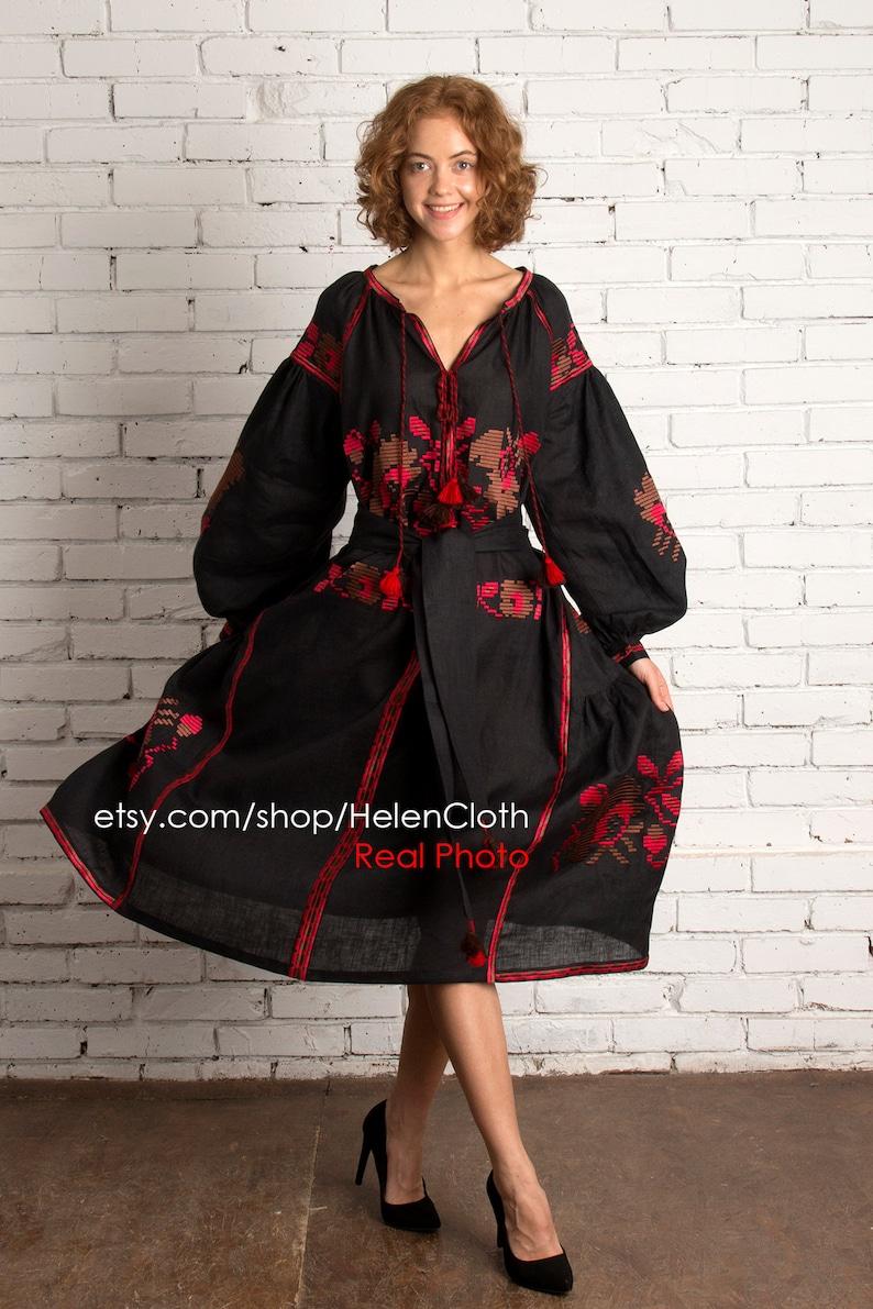 fcb5ca3852b Vyshyvanka linen embroidered dress ukrainian vyshyvanka
