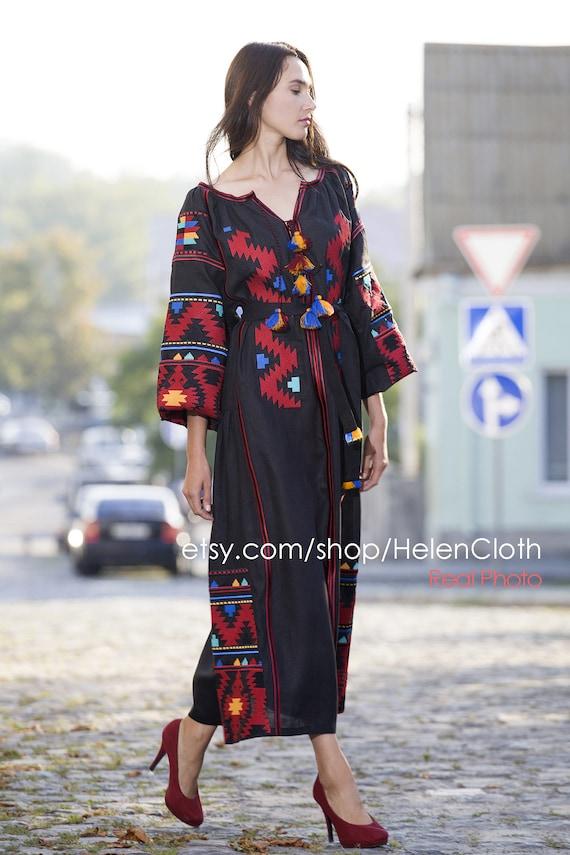 Caftan  Boho style Free sheep Ivory Linen Embroidered Dress Rosemary Ukrainian Vyshyvanka Dress Mexican Dress Kaftan Abaya New