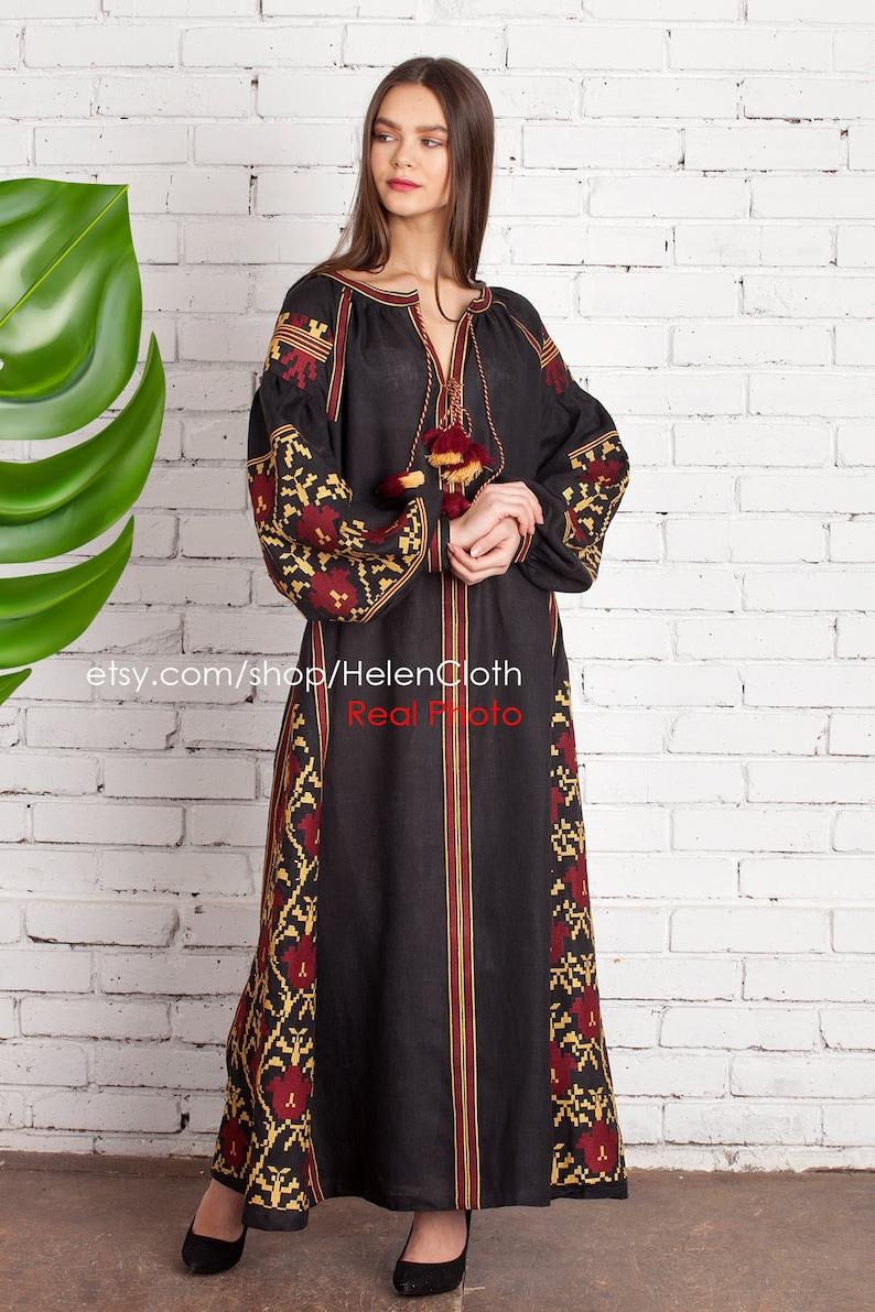 b3b91dbed3d Ukrainian Vyshyvanka Black Linen Embroidered Dress Bohemian