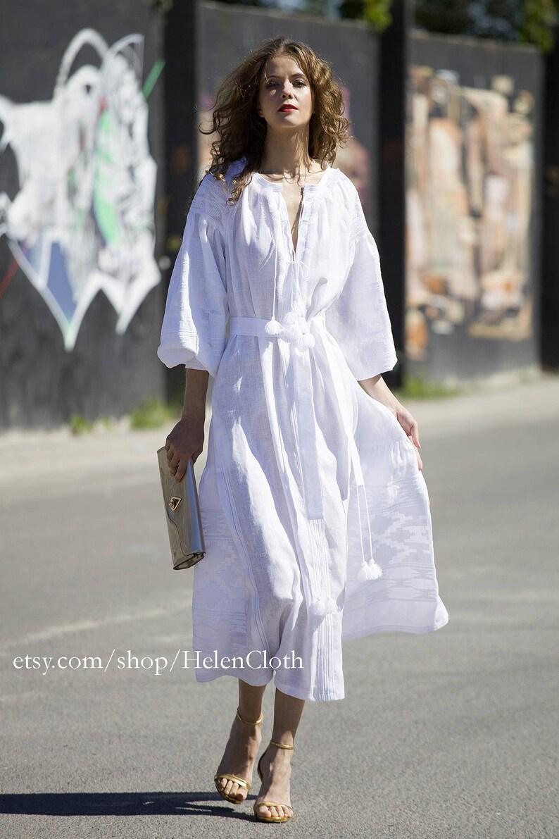 45ae2815aeb Vyshyvanka White Linen Embroider Wedding Dress Ethnic TUNIC
