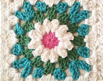Flower Granny Square Crochet Pattern --Blooming Granny