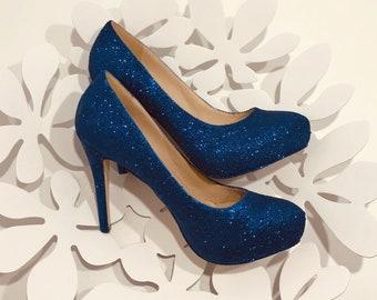 2e71000f2da Blue glitter high heel shoes with plarform Wedding blue