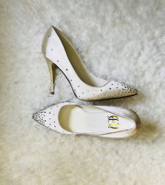 60de711d4087 Ivory wedding satin high heel shoes with swarovski crystals