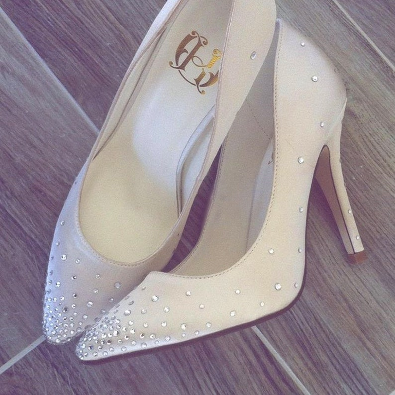 8135afbde93d Ivory wedding satin high heel shoes with swarovski crystals Ivory wedding  shoes Ivory crystal shoes