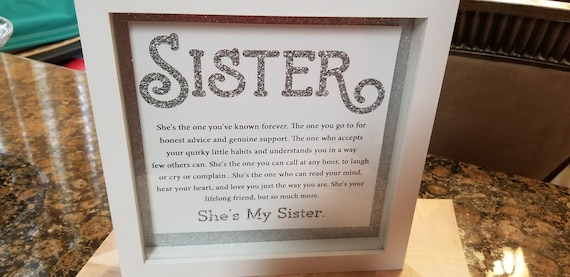 Shadow Box Sisters Silver Glitter And White Sisters Poem Sisters Frame Sisters Shadow Box