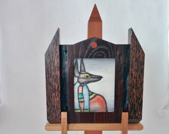 "Matched Set: Original Miniature Painting, ""Anubis"", Acrylic on Canvas, Custom Exotic Hardwood Frame and Obelisk Display Stand"