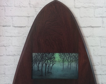 """Original Miniature Painting, """"Something Wicked This Way Comes"""", Acrylic on Canvas, Custom Exotic Hardwood Frame"""