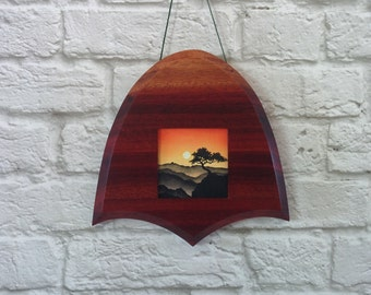 "Ultra-mini (2""x 2"") Original Painting, Acrylic on Canvas, Custom Exotic Hardwood Frame"