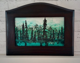 "Original Miniature Painting, ""Evergreen Forest"", Acrylic on Canvas, Custom Exotic Hardwood Frame"