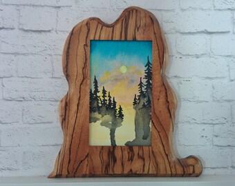 "Original Miniature Painting, ""Global Warming"", Acrylic on Canvas, Custom Exotic Hardwood Frame"