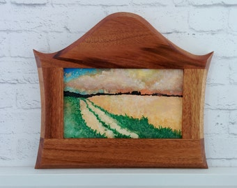 "Original Miniature Painting, ""Country Road, Take Me Home"", Acrylic on Canvas, Custom Exotic Hardwood Frame"