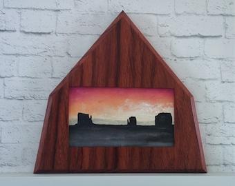"Original Miniature Painting, ""Monument Valley"", Acrylic on Canvas, Custom Exotic Hardwood Frame"