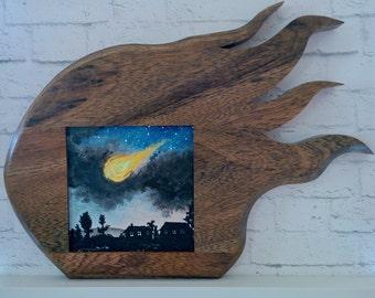 "Original Miniature Painting, ""Armageddon"", Acrylic on Canvas, Custom Exotic Hardwood Frame"
