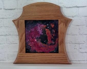 "Original Miniature Painting, ""Deep Space"", Acrylic on Canvas, Custom Hardwood Frame"