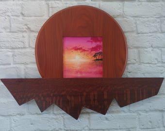 "Original Miniature Painting, ""Island in the Sky"", Acrylic on Canvas, Custom Exotic Hardwood Frame"