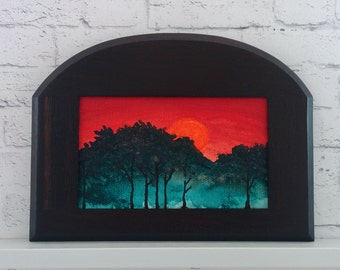 "Original Miniature Painting, ""Red Dawn"", Acrylic on Canvas, Custom Exotic Hardwood Frame"
