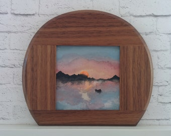 "Original Miniature Painting, ""Tranquility"", Acrylic on Canvas, Custom Hardwood Frame"